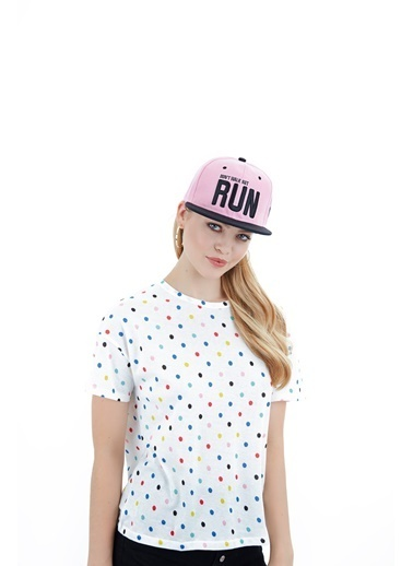 Laslusa Don't Walk But Run Hip Hop Snapback Şapka Pembe